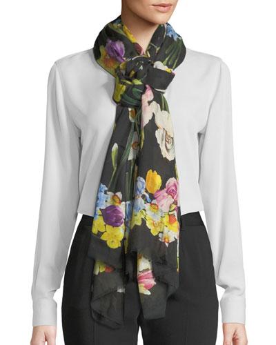 Cashmere-Blend Iris Print Fringe Scarf