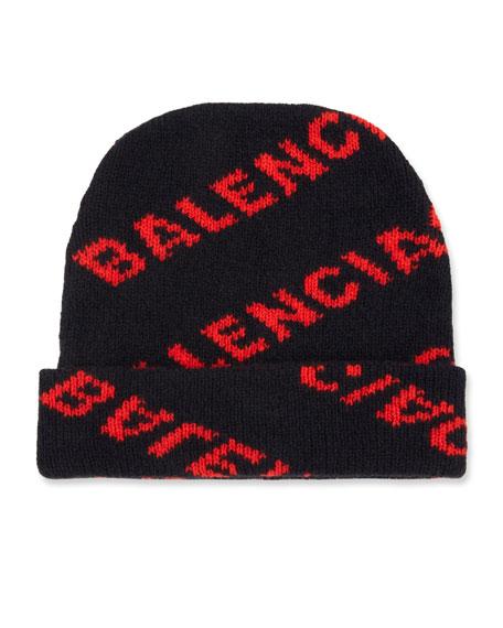 e9a87f18baee4 Balenciaga Jacquard Knit Logo Beanie Hat