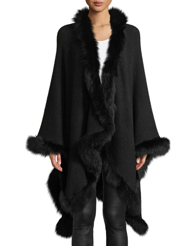 Kamala Oversized Drape Poncho with Fur Trim