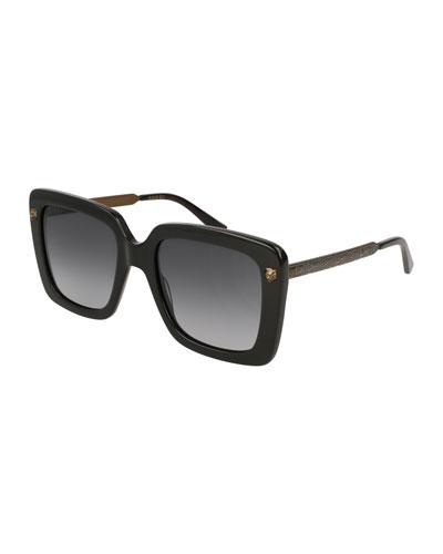 Acetate Square Tiger Sunglasses  Black
