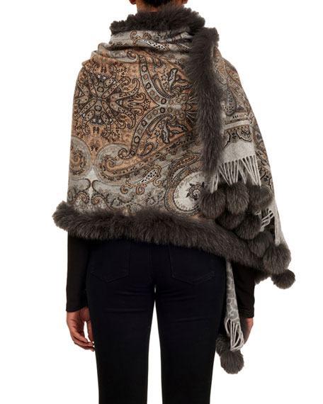 Double-Face Cashmere Stole w/ Fur Trim