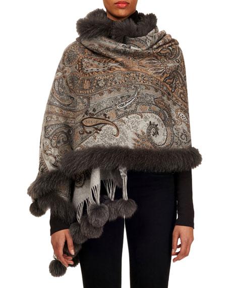 Gorski Double-Face Cashmere Stole w/ Fur Trim