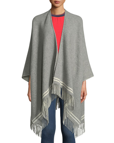 Striped Wool Fringe Poncho