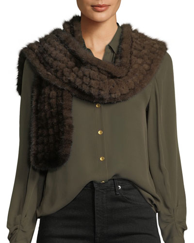 Grid Knit Mink-Fur Scarf