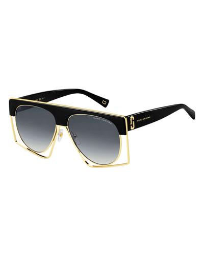 Aviator Shield Metal Sunglasses