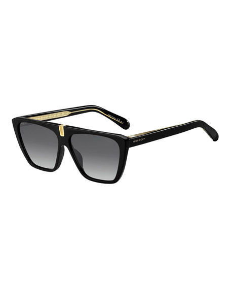 Givenchy Gradient Rectangle Metal-Trim Sunglasses