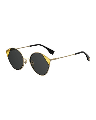 Round Two-Tone Metal Sunglasses