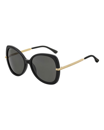 Cruz Acetate/Metal Butterfly Sunglasses