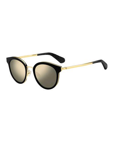 lisannefs round mirrored sunglasses