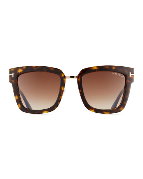 4002317553 TOM FORD Lara Acetate   Metal Square Sunglasses