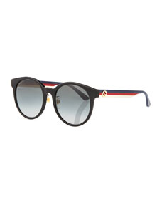 Round Web Arms Acetate Sunglasses by Gucci