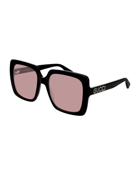 Gucci Square Acetate Sunglasses w/ Swarovski Crystal Logo