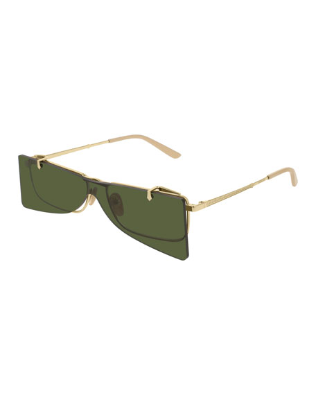 Gucci Rectangle Clip-On Metal Sunglasses