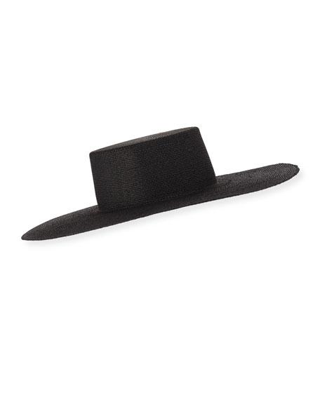 Suzanne Wide Brim Straw Hat in Black