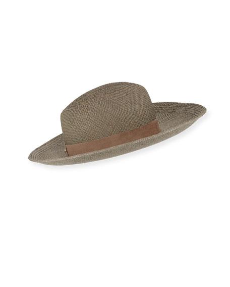 Janessa Leone Angelica Straw Upturn Fedora Hat In Silver Sage d3af0298bcd1