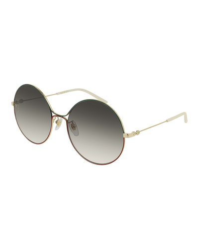 Metal Web-Front Round Sunglasses