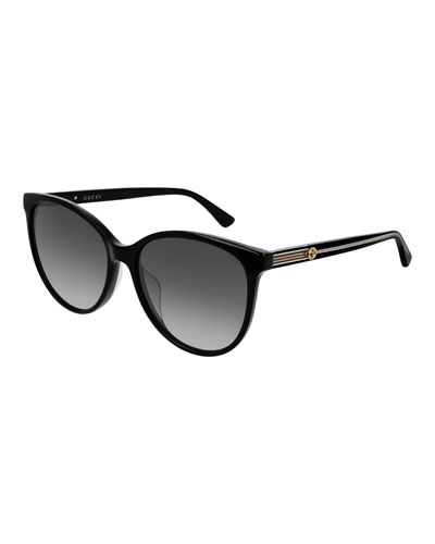 Round Acetate Sunglasses w/ Web & Logo Temples