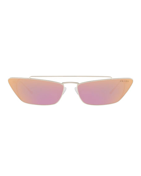 Slim Cat-Eye Mirrored Sunglasses