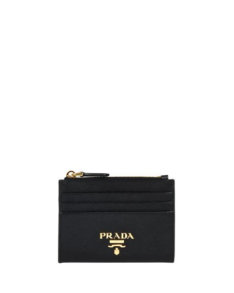 Prada Saffiano Card Case With Zip Compartment