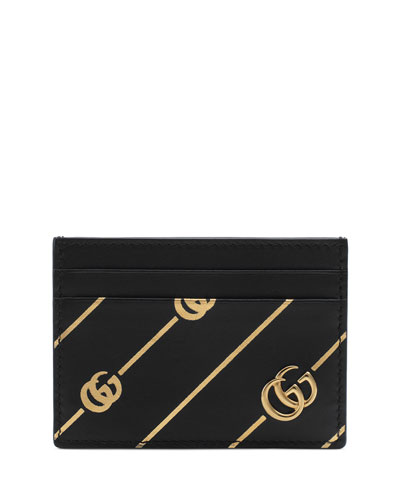 20661d4906a GG Diagonal-Stripe Leather Card Case Quick Look. Gucci