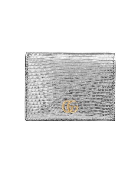 5ffc34838a494e Gucci Petite Marmont Laminated Lizard Flap Card Case In Silver ...