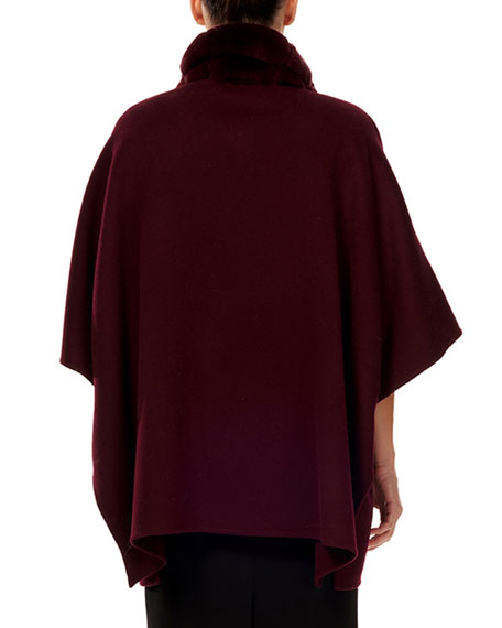 Wool-Blend Cape w/ Fur Trim