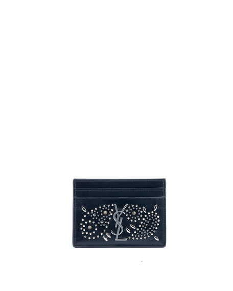 Saint Laurent Monogram YSL Bandana Studded Card Case