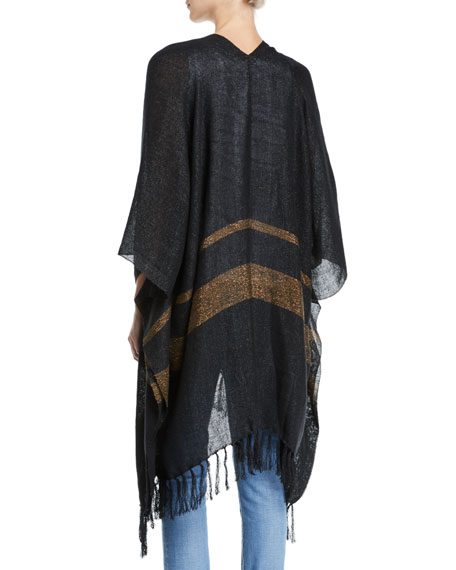 Open-Front Linen-Metallic Poncho with Stripe