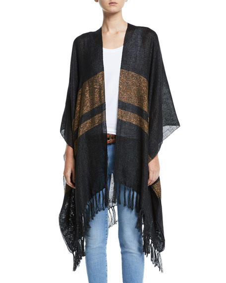 Brunello Cucinelli Open-Front Linen-Metallic Poncho with Stripe