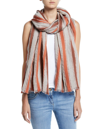 Metallic Striped Cotton/Linen Scarf
