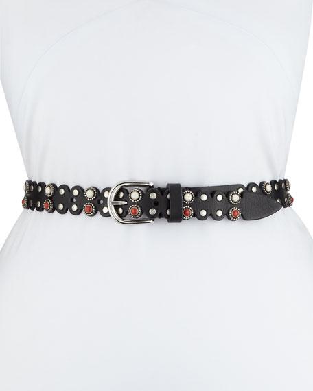 Iro Cabochon Embellished Leather Belt