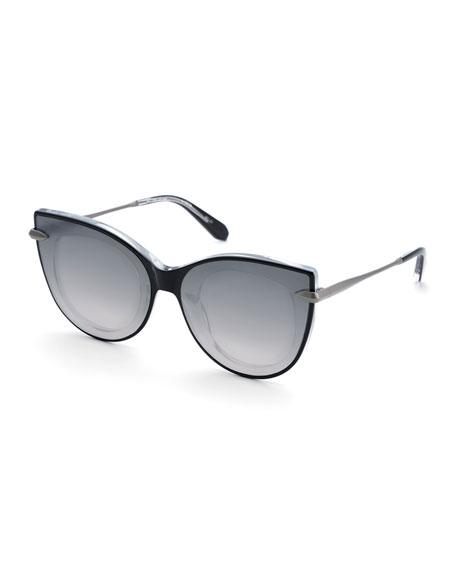 ca806d2bfe7 Shop Krewe Laveau Cat-Eye Acetate   Metal Mirrored Sunglasses In ...