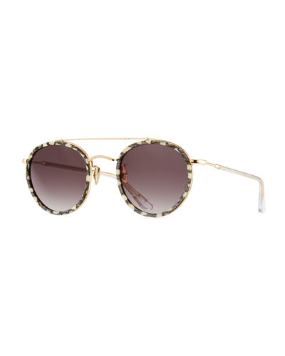 Poydras Round Acetate & Metal Sunglasses