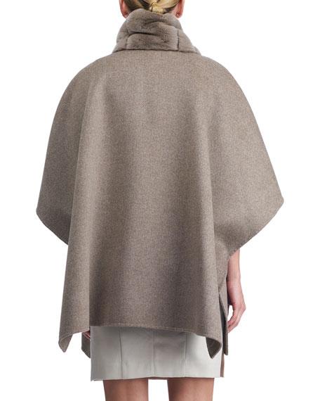 Wool Cape w/ Fur Trim