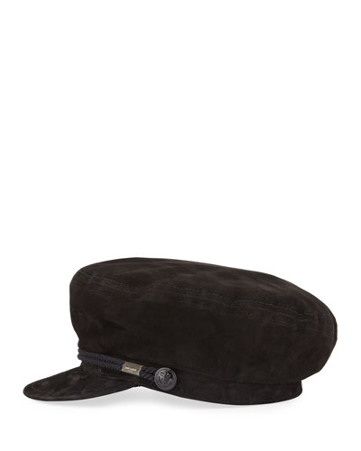 Suede Newsboy Hat w/ Rope Front