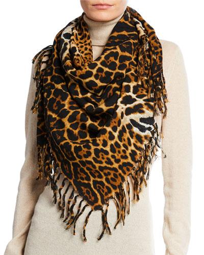 Wool Toile Leopard Fringe Scarf
