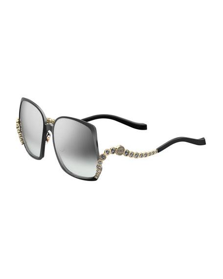 Elie Saab Square Titanium Sunglasses w/ Crystal Wave