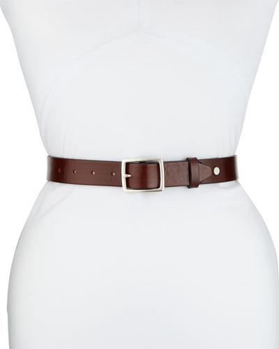 Boyfriend Square-Buckle Leather Belt