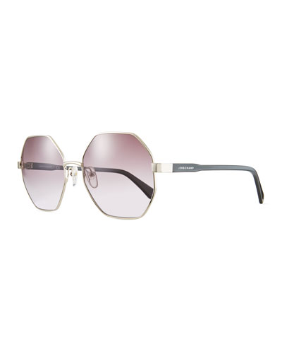 Hexagonal Mirrored Metal Sunglasses