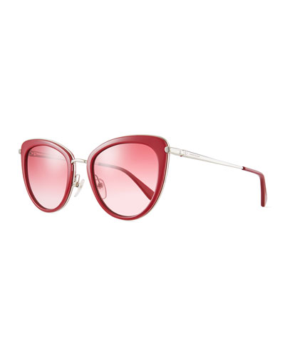Acetate & Metal Cat-Eye Sunglasses