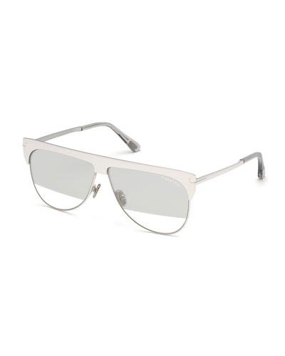Winter Two-Tone Mirrored Aviator Sunglasses