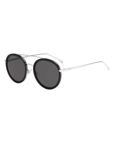 Fendi Trimmed Round Monochromatic Sunglasses, Black