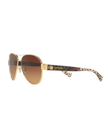 600bf75f30d56 Coach Gradient Metal Aviator Sunglasses w  Leopard-Print Acetate Arms