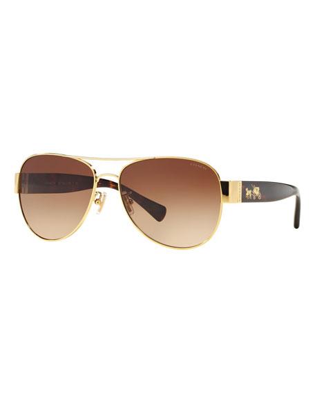 Coach Metal & Acetate Aviator Sunglasses