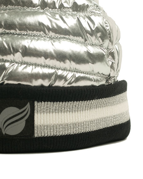 Downtown Crown Metallic Quilted Hat w/ Ribbed Cuff