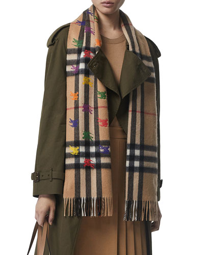 Giant Check Cashmere Scarf w/ Multicolored Knight Embroidery