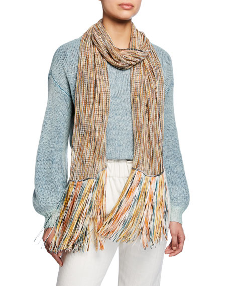 Multi Space Dye Net Scarf w/ Fringe Ends