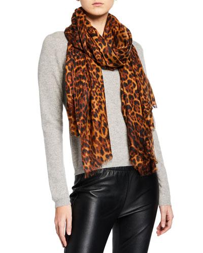 Lightweight Cashmere Leopard-Print Scarf