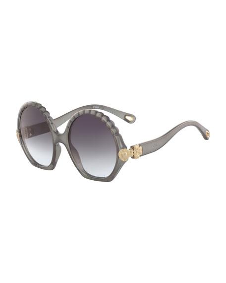 Vera Scalloped Round Plastic Sunglasses