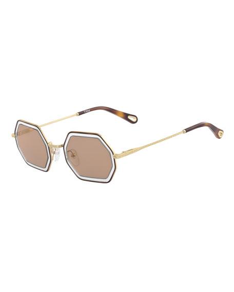 Chloe Tally Hexagonal Metal Sunglasses